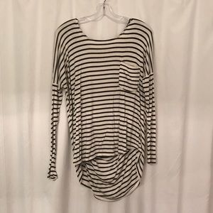 Striped LS tee with open back